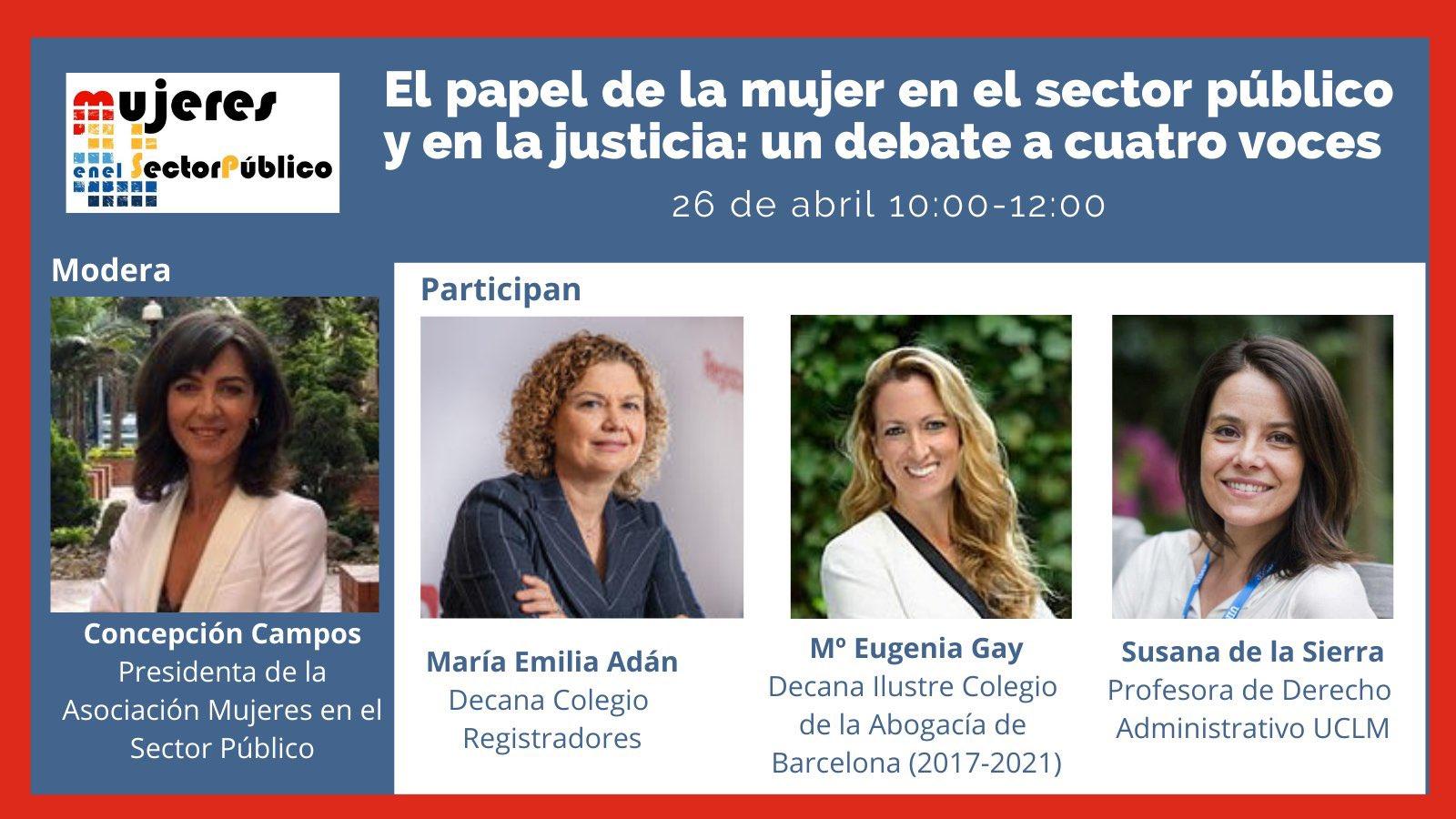Webinar sobre El papel de la mujer en el sector público y en la justicia: un debate a cuatro voces